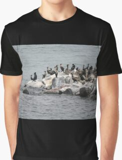 cormorant on river Graphic T-Shirt