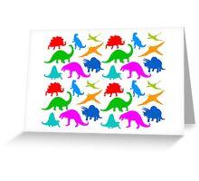 Dinosaur Multi-coloured Pattern Greeting Card
