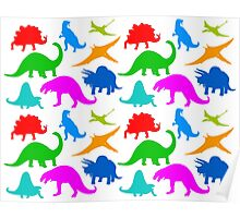 Dinosaur Multi-coloured Pattern Poster