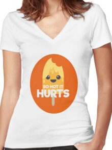 So Hot it Hurts - Lollipop Women's Fitted V-Neck T-Shirt