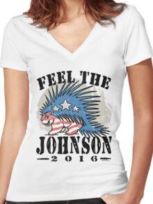 Feel The Johnson Libertarian Porcupine Women's Fitted V-Neck T-Shirt