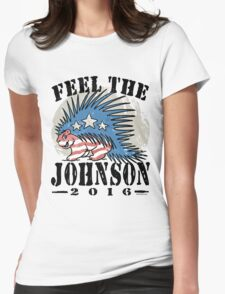 Feel The Johnson Libertarian Porcupine Womens Fitted T-Shirt