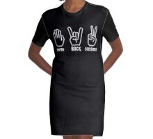 Paper Rock Scissors Graphic T-Shirt Dress