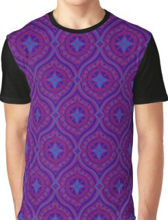 Deep Purple and Blue Traditional Ogee Pattern Graphic T-Shirt