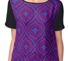 Deep Purple and Blue Traditional Ogee Pattern Chiffon Top