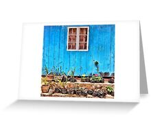 Wooden window painted in blue Greeting Card