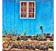 Wooden window painted in blue Photographic Print