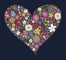 Spring Flowers Valentine Heart One Piece - Long Sleeve