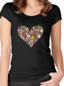 Spring Flowers Valentine Heart Women's Fitted Scoop T-Shirt