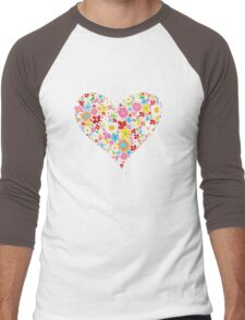 Spring Flowers Valentine Heart Men's Baseball ¾ T-Shirt