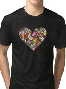 Spring Flowers Valentine Heart Tri-blend T-Shirt