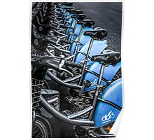 Blue Bicycles Poster