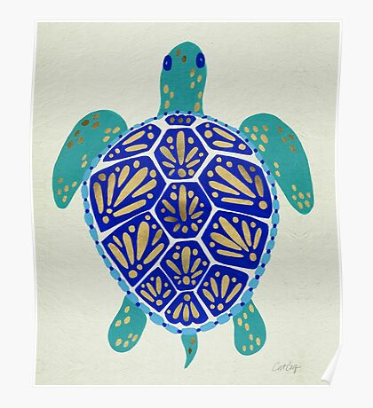 Sea Turtle – Navy & Gold Poster