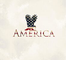 Eagle with Stars and Stripes American Flag Cream Background by frogcreek