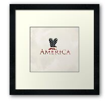 Eagle with Stars and Stripes American Flag Cream Background Framed Print