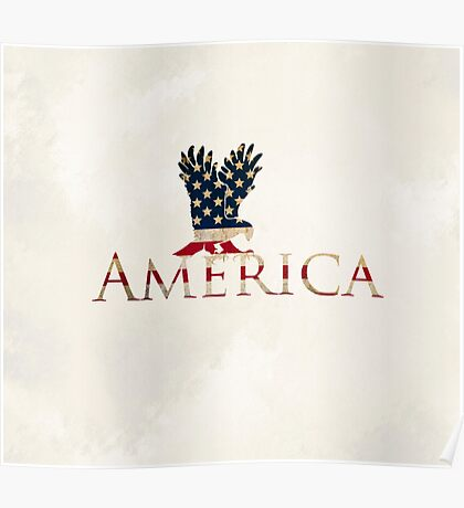 Eagle with Stars and Stripes American Flag Cream Background Poster