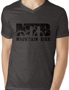 Mountain Bike Distressed and Vintage MTB Mens V-Neck T-Shirt