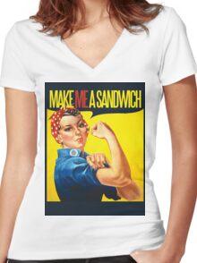 Feminist Make ME a sandwich Women's Fitted V-Neck T-Shirt