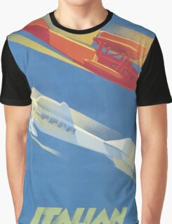 Vintage Travel Poster - Italian Aerial Lines Graphic T-Shirt