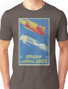 Vintage Travel Poster - Italian Aerial Lines Unisex T-Shirt
