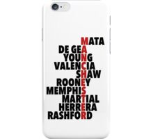 Manchester United spelt using player names iPhone Case/Skin