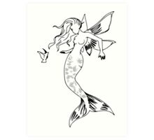 Mythical Winged Mermaid Art Print