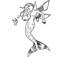 Mythical Winged Mermaid Photographic Print