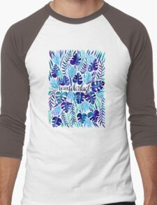 Tropical Wanderlust – Blue Men's Baseball ¾ T-Shirt