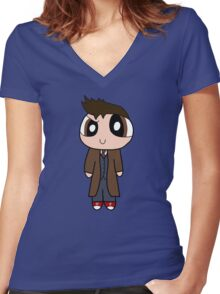 10th Doctor Powerpuff Style! Women's Fitted V-Neck T-Shirt