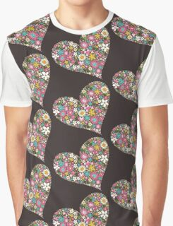 Spring Flowers Valentine Pink Hearts Graphic T-Shirt