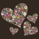 Spring Flowers Valentine Pink Hearts by fatfatin