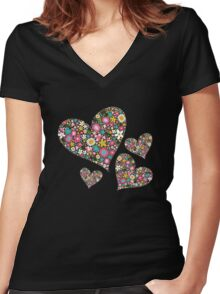 Spring Flowers Valentine Pink Hearts Women's Fitted V-Neck T-Shirt