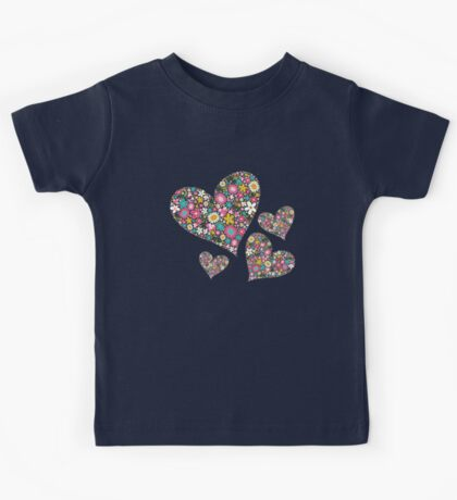 Spring Flowers Valentine Pink Hearts Kids Clothes