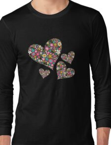 Spring Flowers Valentine Pink Hearts Long Sleeve T-Shirt