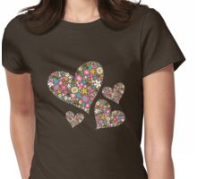 Spring Flowers Valentine Pink Hearts Womens Fitted T-Shirt