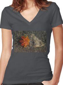 Maple Leaf - Playful Sunlight Patterns Women's Fitted V-Neck T-Shirt
