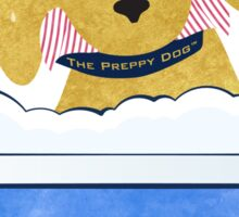 Cute Preppy Golden Retriever Dog Bath Time Sticker