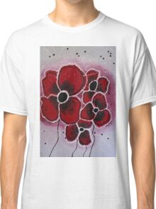 Red Flowers Abstract Art Classic T-Shirt