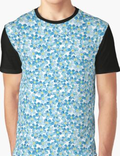 Blue Daisy Floral Print Repeating Seemless Graphic T-Shirt