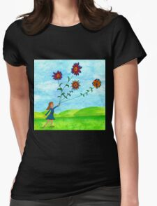 Girl With Flowers Womens Fitted T-Shirt