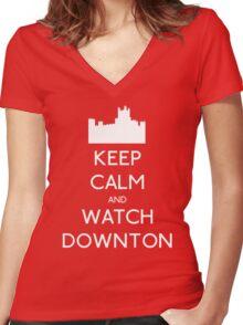 Keep Calm and Watch Downton Women's Fitted V-Neck T-Shirt