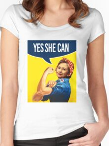 YES SHE CAN - Hillary the Riveter Women's Fitted Scoop T-Shirt
