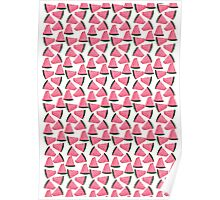 Cute Fruity Water Melon Chunks On Trend Design Poster