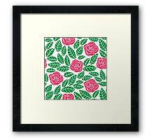 Pink roses with green leaves pattern Framed Print