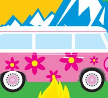 CAMPING HAPPY CAMPER ILLINOIS MOUNTAINS VOLKSWAGEN BUS CAMPFIRE PEACE HIPPIE Sticker