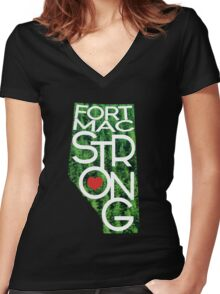 Fort Mac Strong - Alberta Wildfire Support Women's Fitted V-Neck T-Shirt