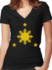 3 Stars and a Sun Philippines Women's Fitted V-Neck T-Shirt