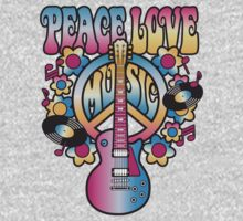 Peace, Love and Music One Piece - Long Sleeve