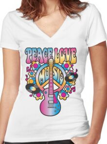 Peace, Love and Music Women's Fitted V-Neck T-Shirt