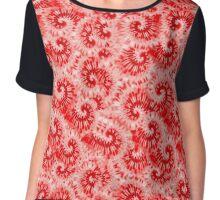 Red Tie Dye Print Chiffon Top